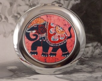 Elephant Compact Mirror - Silver-Tone, Persian Elephant - Includes 4X5 Silver Sparkling Fabric Bag