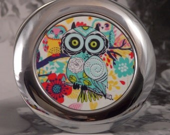 Owl Compact Mirror - Silver-tone - 3 Different Shapes - Turquoise Owl w/4X5 Silver Sparkling Fabric Bag