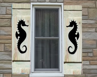 Seahorse Painted on Wood Shutters