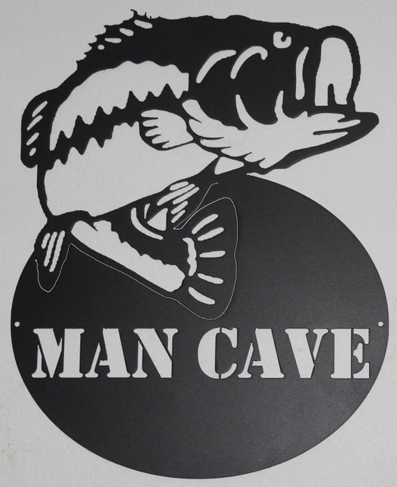 Man Cave Metal Wall Art : Man cave sign with bass metal wall art home decor