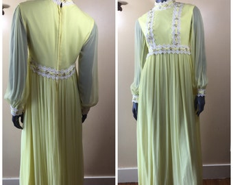 Vintage 70s VICTORIAN DRESS, Chiffon Maxi Dress,SHEER Yellow Long  Formal Dress 1970s Prom  dress
