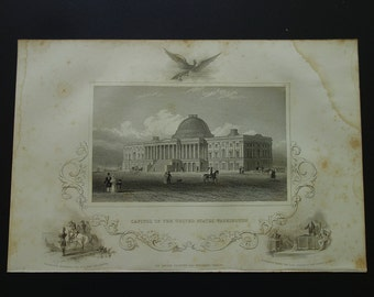 View of the Capitol building Washington - 1851 antique engraving - picture panorama - old look USA president history print -  18x27c 7x11""