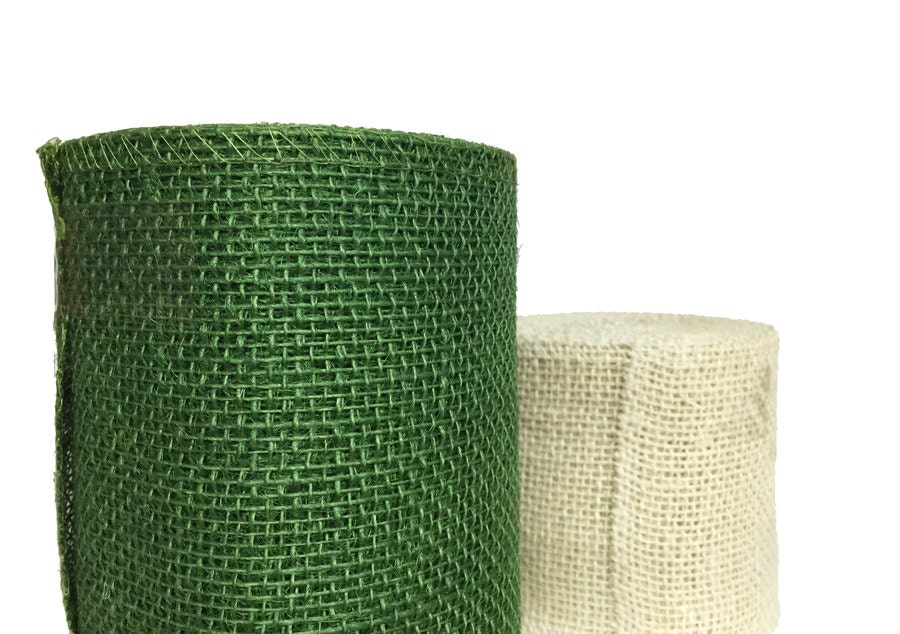 20 yards of burlap ribbon hunter green and creamy beige for Green burlap ribbon
