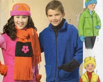 Butterick Pattern 4595 Fleece JACKET VEST HAT Scarf Mittens Boys & Girls  12 14 16