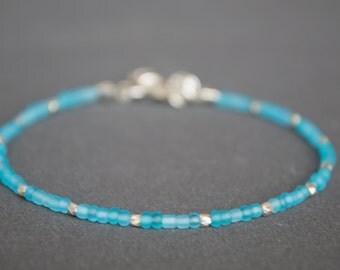 Friendship bracelet Glass bracelet Beaded bracelet Silver bracelet Dainty bracelet Pastel blue bracelet Thin bracelet Delicate bracelet