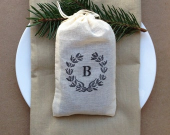 100 Monogram Wedding favor bags 3x5 muslin bags