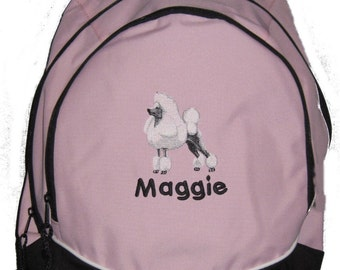 FREE SHIPPING - Show Poodle Dog  Personalized Monogrammed Backpack Book Bag school tote  - NEW