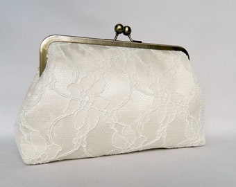Clutch purse, Bridal Clutch, Wedding Clutch, Lace Clutch, Cream Lace Clutch, Bridesmaid Clutch, Bridesmaids Gift, Evening Clutch