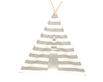 READY TO SHIP Teepee Play Tent Grey Gray and White Stripe 4 panel- Poles Included