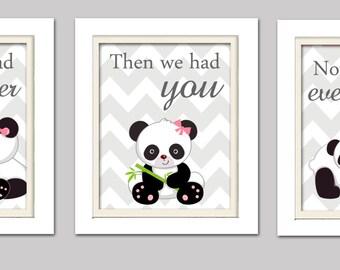 Nursery Art Trio, Panda Nursery Prints, Pink and Grey Nursery, Girl Panda Nursery, Set of 3 8x10, First we had each other