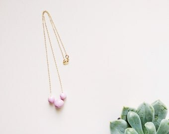 Handmade Ceramic Necklace - Gold Ceramic Necklace - Orchid Ceramic Jewelry - Bridesmaid Gifts