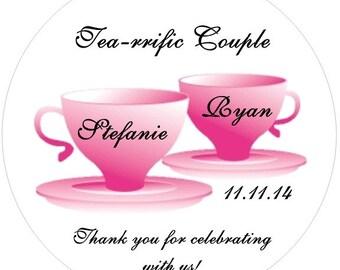 Tea rific Couple Wedding Stickers