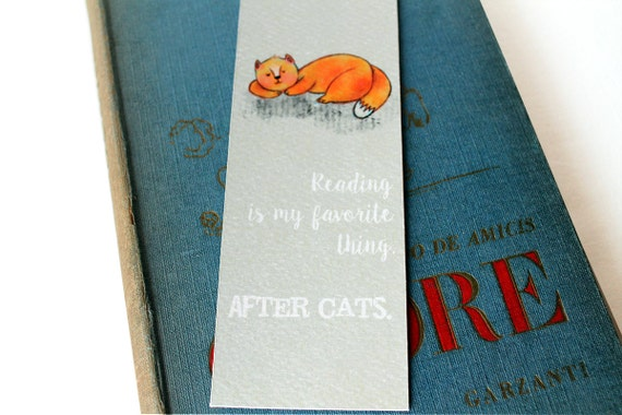 cat lovers bookmark with an orange cat sleeping