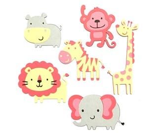 Set of 6 Pink Jungle Animal Die Cuts / Girl Safari Animal Die Cut Pink Jungle Scrapbook Animals Paper Die Cut Elephant Lion Monkey Die Cut