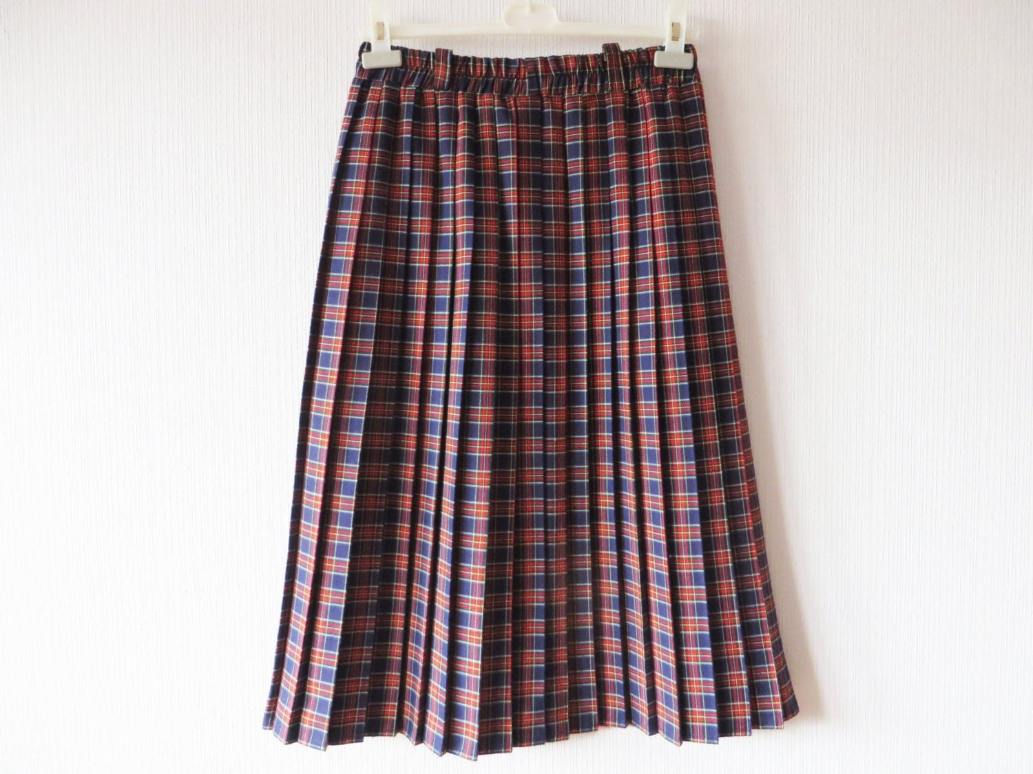 tartan plaid accordion pleated skirt blue white by