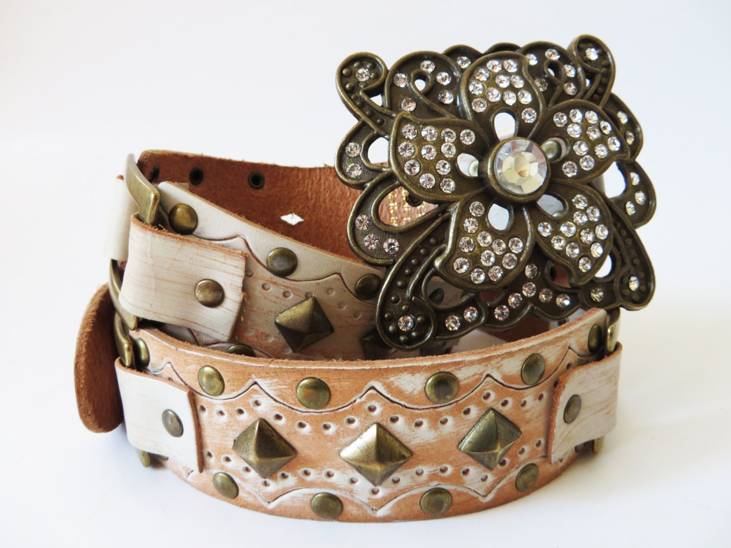 wide studded belt brown vegan leather brass studs faux leather