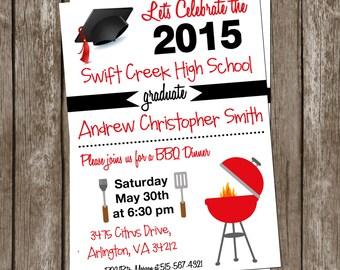 Black and Red BBQ Graduation Dinner Invitation