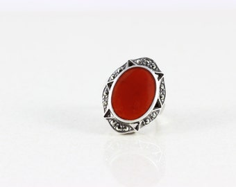 Sterling Silver Carnelian and Marcasite Band Ring Size 6 1/4