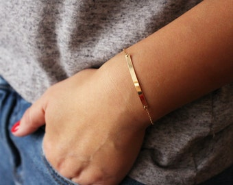 Customized Name Plate Bracelet / Personalized Gold Bracelet / Long Skinny Bar Bracelet