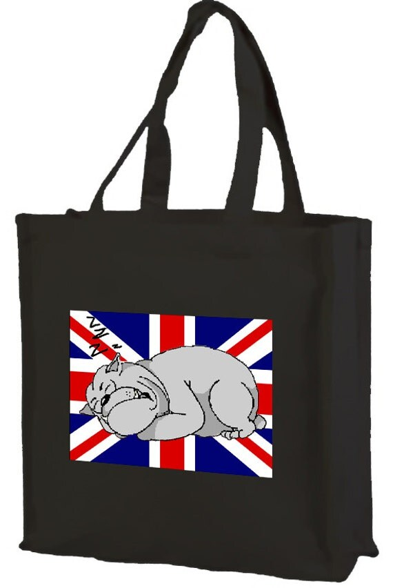 Sleeping British Bulldog Union Jack Cotton Shopping Bag with gusset and long handles, 3 colour options