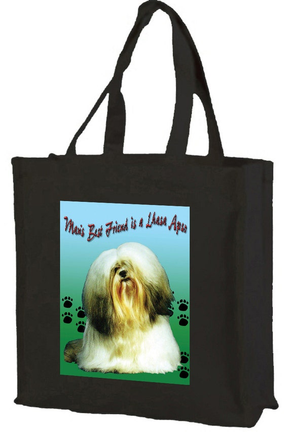 Lhasa Apso Man's Best Friend Cotton Shopping Bag with gusset and long handles, 3 colour options