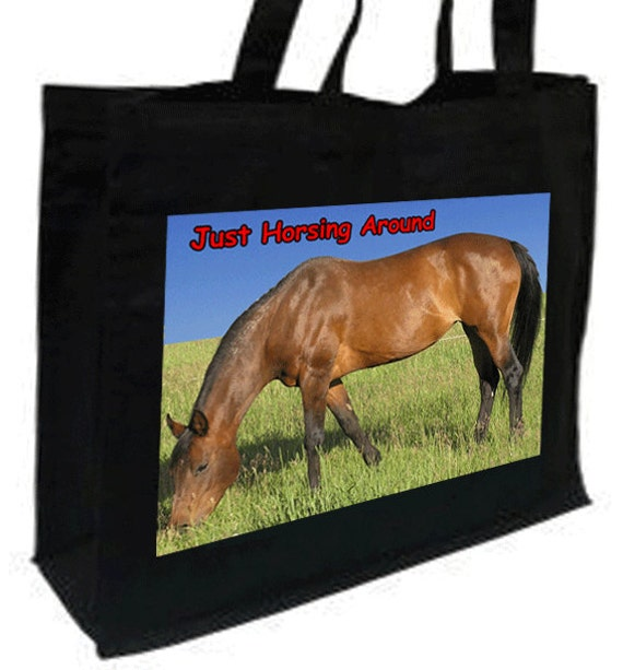 Bay Horse Just Horsing Around Shopping Bag with gusset and long handles, 3 colour options
