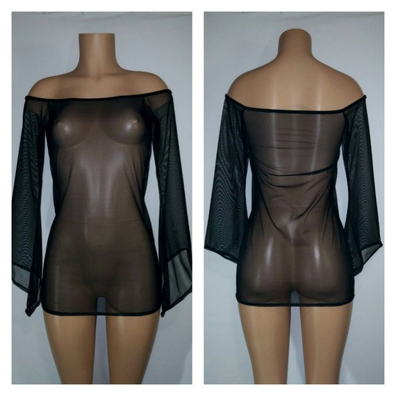 Mesh Off Shoulder Loose Fit and Added Length Cover Up with Wizard Sleeves For the Pool or Beach. Custom Made to Order