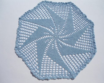 blue crochet doily , spring doily , lace , round , 15 inches