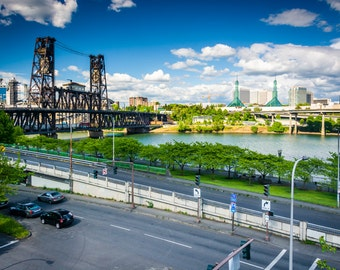View of Naito Parkway and the Steel Bridge, in Portland, Oregon - Photography Fine Art Print or Wrapped Canvas