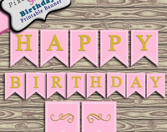 Happy Birthday Party Printable Banner Bunting Pink and Gold Glitter Instant Download PDF