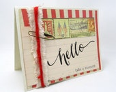 Hello Card - Rustic Style - Americana - Vintage Style - Red Stripes - Any Occasion Card - Blank Card - Hand Stamped - Ivory Card