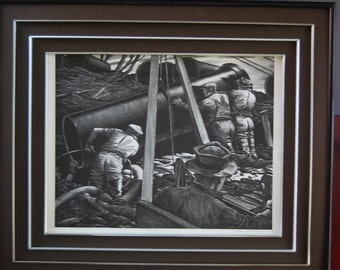 WPA Industrial Lithograph 'Pipe Laying' by Edward Wilson