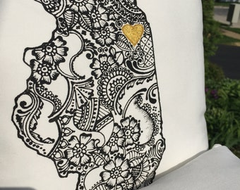 Henna-filled State Pillow- Hand-painted Throw Pillow