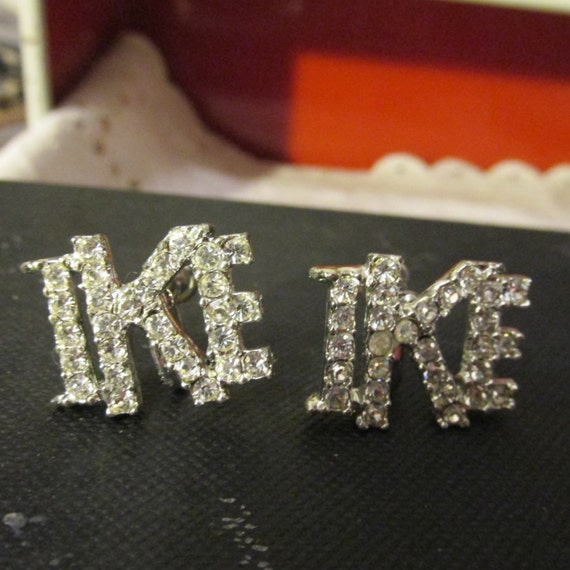 Estate Vintage Rhinestone Screw Back EARRINGS Marked by Maker Political Memorabilia for Dwight Eisenhower for Campaign 1950's Collectible