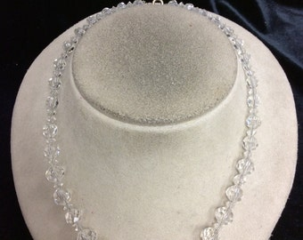 Vintage Clear Graduated Glass Beaded Necklace