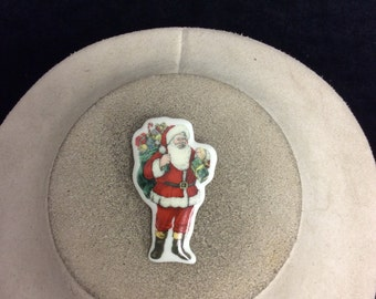 Vintage Ceramic Christmas Santa Claus Pin