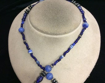 Vintage Shades Of Blue Glass Beaded Necklace