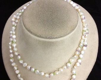 Vintage Long Fresh Water Pearl & Colorful Glass Beaded Necklace