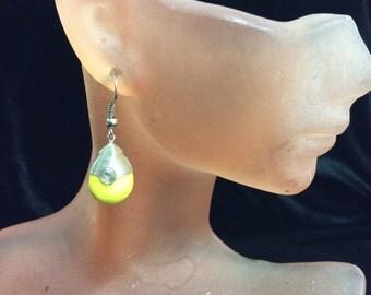 Vintage Yellow Glass Dangle Earrings