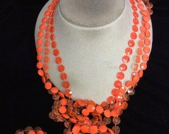 Vintage Long Triple Stranded Bright Orange Beaded Necklace
