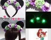 Mermaid Mouse Ears, The Little Mermaid, Ariel, Minnie Mouse Ears, Disneyland, Disney World, LED Ears, Mermaid