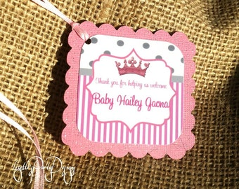 PRINCESS, BABYSHOWER, Birthday, Party Inspired Thank You Tags, Goodie bag Tags, treat labels,