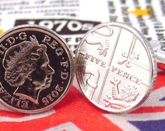 Boxed Pair  British 2015 Five Pence Penny Coin Cufflinks Wedding Birthday Anniversary