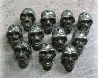 Pyrite Skull Bead - 1 Bead - Item B0140