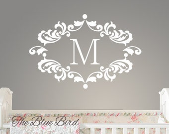 Name and Initial wall decal - wall decals nursery - damask decal - baby girl nursery name - baby girl decal - monogram BN052