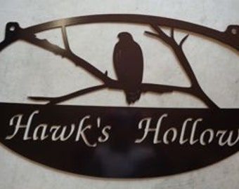 Metal  Sign with  hawk sitting on branch customized with your name