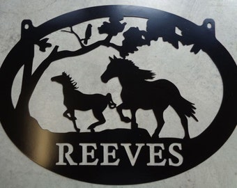 Metal  Sign with horses running customized with your name