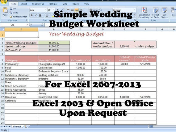 Simple Wedding Budget Worksheet Printable and Editable for – Wedding Budget Worksheet Excel
