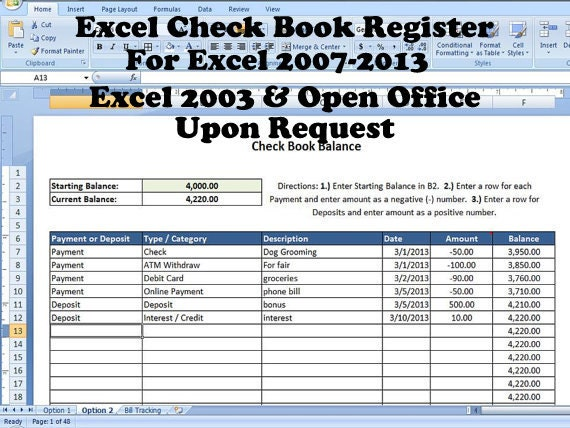 excel check book register help with balancing checkbook