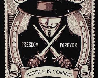 V for Vendetta Justice is coming Freedom Movies BT 02 Black Timber Black T-shirt Sz. S,M,L,XL,XXL
